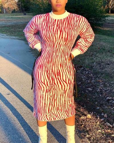 Round Neck Striped Long Sleeve Plus Size Dress