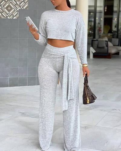 Plus Size Tie Wrap High Waist 2 Piece Pants Set