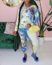 Printed Tie-dye Hooded Long-sleeved Sweater Casual Suit