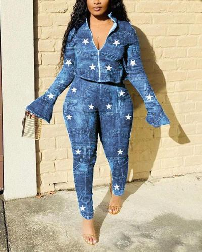 Star Printed Trumpet Sleeve Two Piece Sets