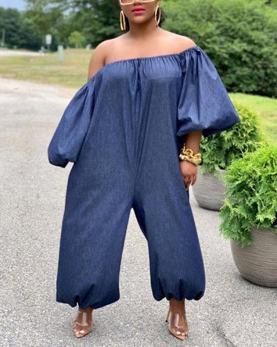 Plus Size Denim Off The Shoulder Wide Leg Jumpsuit