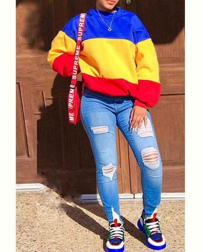 Fashion Casual Color Block Long Sleeve Sweatshirt
