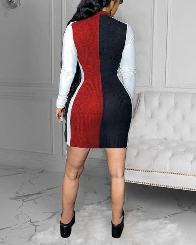 Fashion Color Stitching Dress