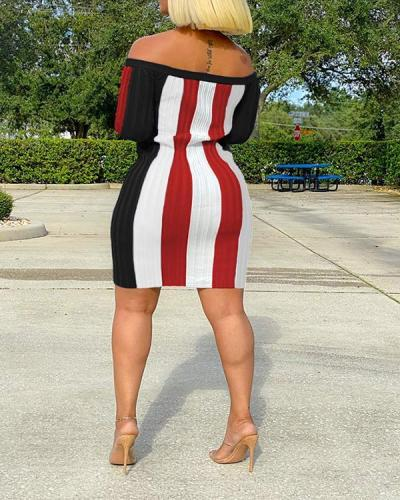 Sexy Off-houlder Striped Dress