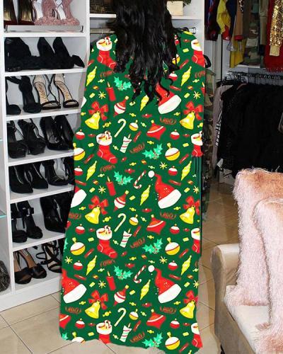 Christmas Print Plus Size Long Sleeve Dress