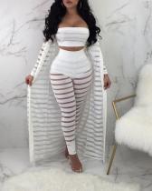 Plus Size Fashion Sexy Lace Hollow Cloak + Wrapped Chest + Pants Set