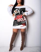 Printed Loose Hoodies Dress