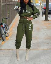 Plus Size Camouflage Stitching Letter Punk Top With Leisure Sports Pants Set