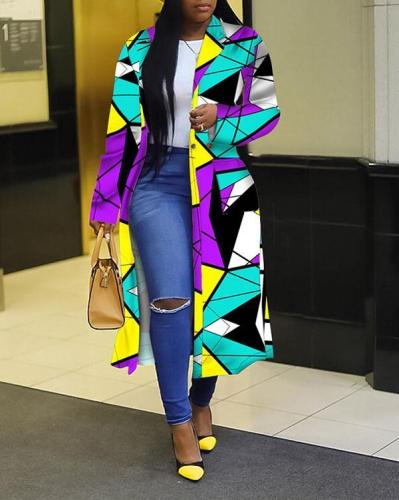 Plaid Print Double-breasted Lapel Trench Coat Long Jacket