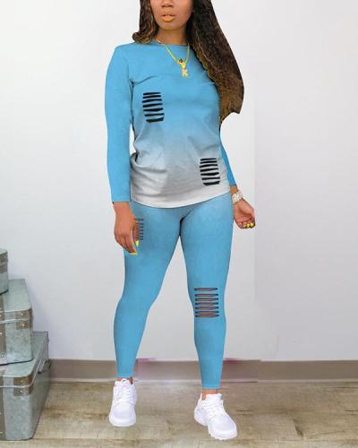 Fashion Long Sleeve Gradient Hole Print Plus Size Set