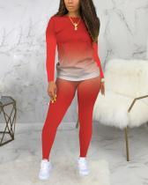 Fashion Long Sleeve Gradual Change Print Plus Size Set