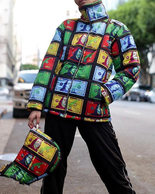 Colorful Dollar Bill Print Dyeing Jacket Hooded Down Jacket