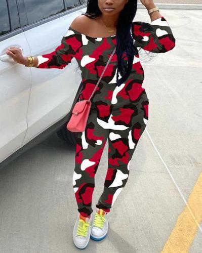 Camouflage Printing Oblique Shoulder Fashion Casual Suit