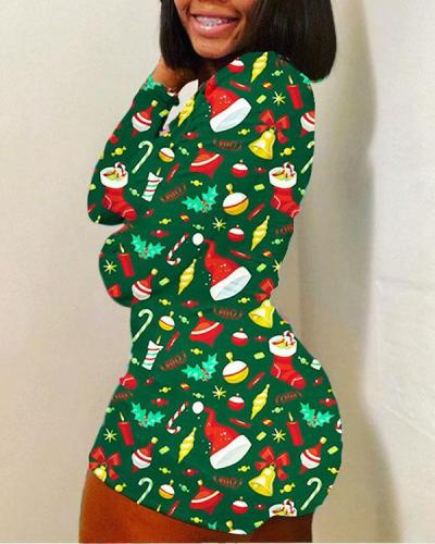 Fashionable Christmas Elements Print Fall and Winter Home Wear Jumpsuit