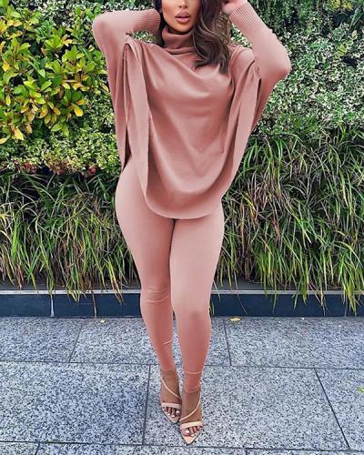 Casual Turtleneck Loose Pink Plus Size Two-piece Pants Set