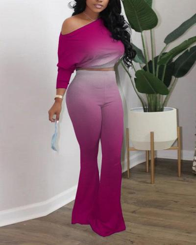 Oblique Shoulder Gradient Color Flared Pants Two-piece Suit
