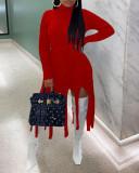 Tassel Hem Solid Color Long Sleeve Dress