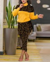 Leopard Print Stitching Sports Leisure Trousers Two-piece Suit