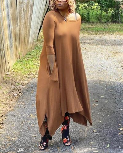 Plus Size Asymmetric Hem Dress Without Belt