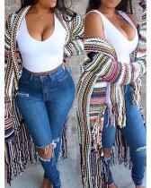 Knit Cardigan Fringed Stripe Colorblock Jacket Coat