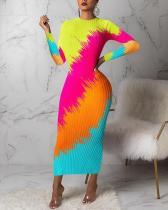 Contrasting Pit Strip Print Long Dress