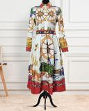 High-waisted Plus-size Geometric Print Casual Dress