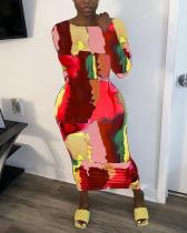 Fashion Printed Tie-dye Split Dress