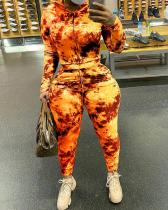 Plus Size Fire Print Hooded Two Piece Sets