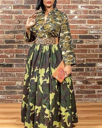 Sexy Polyester Print Split Joint V Neck Long Sleeve Floor Length A Line Dresses
