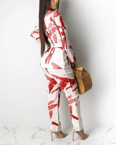 Printed Casual Long Sleeve Slim Suit