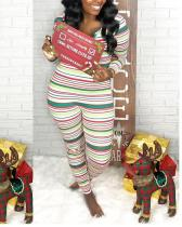 Fashion Sexy Christmas Themed Striped Jumpsuit