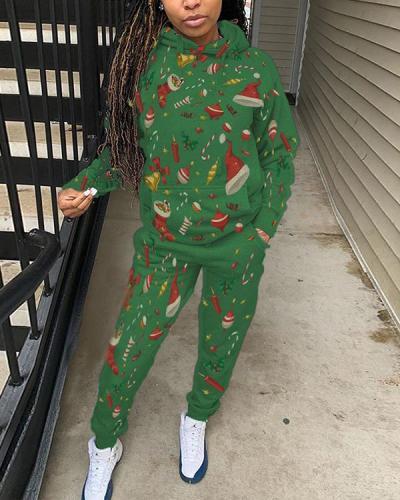 Christmas Print Hooded Collar Pocket Top & Pants