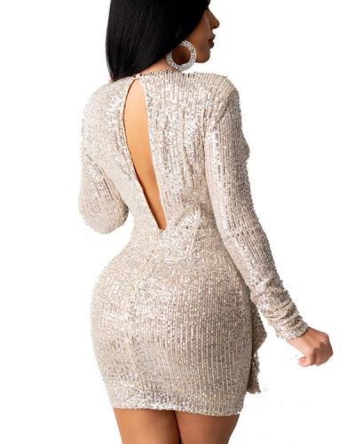 Sexy Solid Sequins Split Joint V Neck Pencil Skirt Dresses