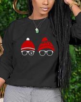 Fashion Christmas Print Basic O Neck Tops