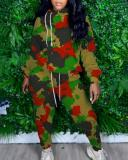 Plus Size Casual Turtleneck Loose Hooded Printed Camouflage Sweater Two-piece Suit
