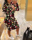 Christmas Print Long Sleeve Midi Dress