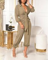 Casual Daily Solid Fold Turndown Collar Regular Jumpsuits