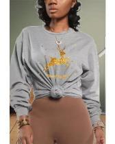 Fashion Christmas Deer Print Basic O Neck Tops