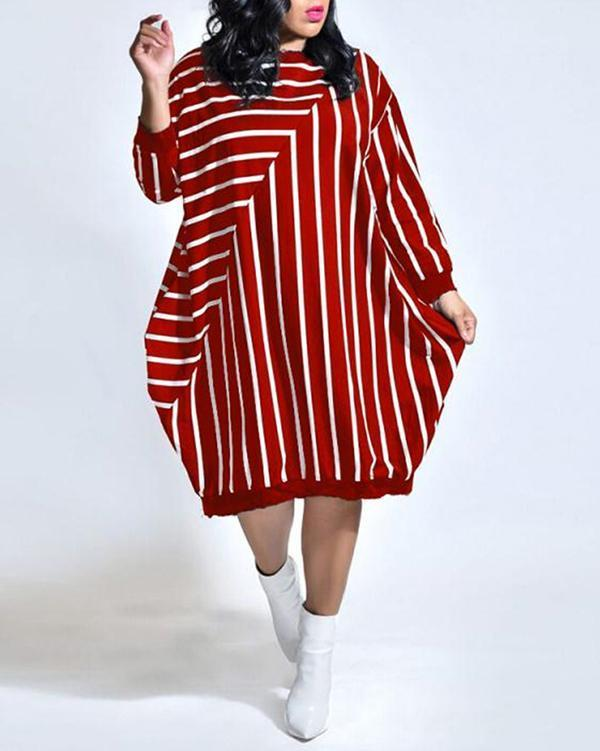 Striped Loose Plus Size long Sleeve Pocket dress