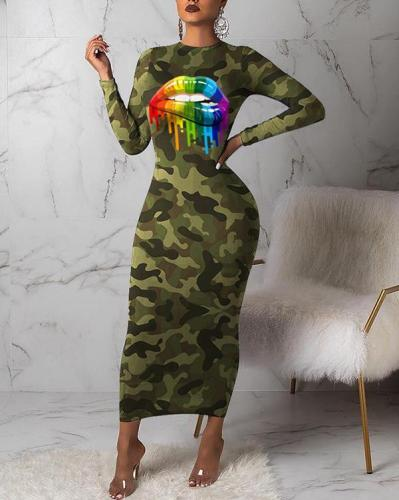 Camouflage Print Long Sleeve Maxi Dress