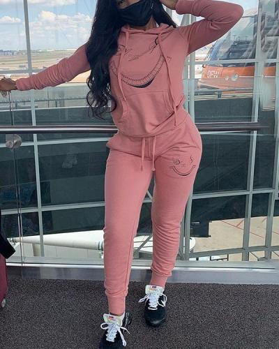 Cute Pattern Casual Fashion Hoodies Two-piece Suit