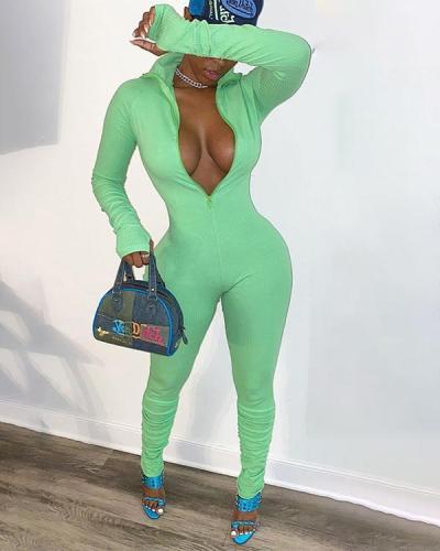 Sexy Solid Color Pit Strip Elastic Waist Jumpsuit