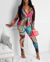 Sexy Slim Print Jacket Two-piece Suit