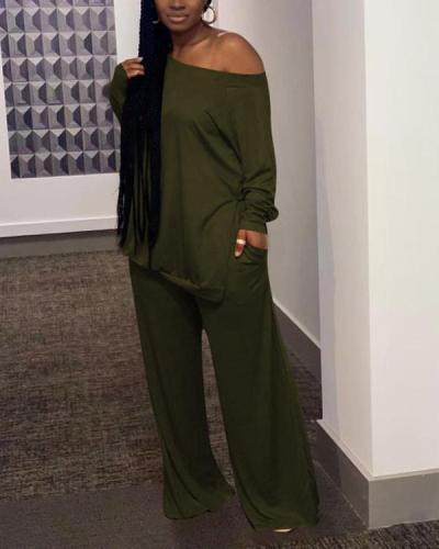 Casual One Shoulder Plus Size Two-piece Pants Set