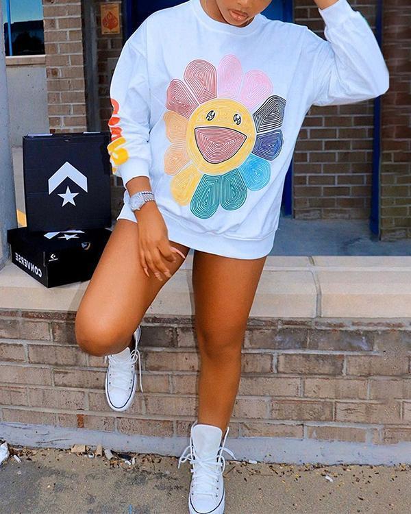 Colorful Sunflower Print Fashion Casual Sweatshirt