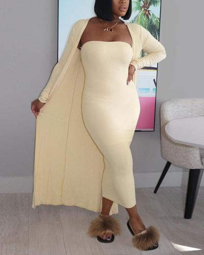Solid Coat Tube Top Dress Two-piece Set