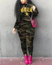 Street Letter Camo Print Green Plus Size Two-piece Pants Set