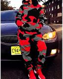 Sportswear Camo Print Loose Black Plus Size Two-piece Pants Set