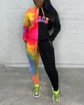 Tie-dye Color Stitching Hooded Two-piece Suit