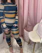 Stripe Print Long Sleeve Skinny Jumpsuit